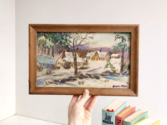 Vintage Original Winter Landscape Painting - Signed and Framed
