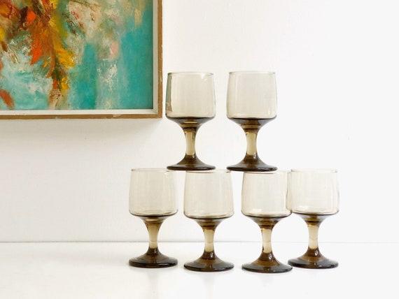 Set of Six Vintage Smoky Brown Glass Goblets