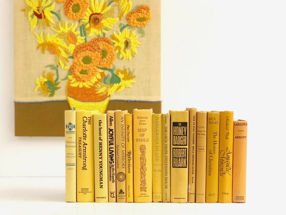 Vintage Yellow Book Collection - Decorative Book Collection