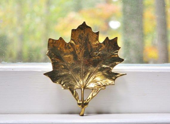 Virginia Metalcrafters Brass Maple Leaf Dish