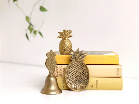 Collection of Vintage Brass Pineapple Decorations - Bell, Trinket Dish, Paperweight