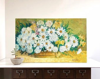 Vintage Original Signed Floral Painting on Canvas - Oil Painting
