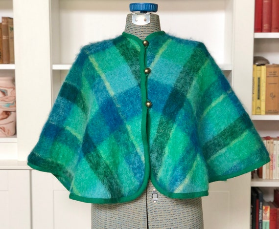 Mid-Century Mohair Plaid Cape - Made in Germany