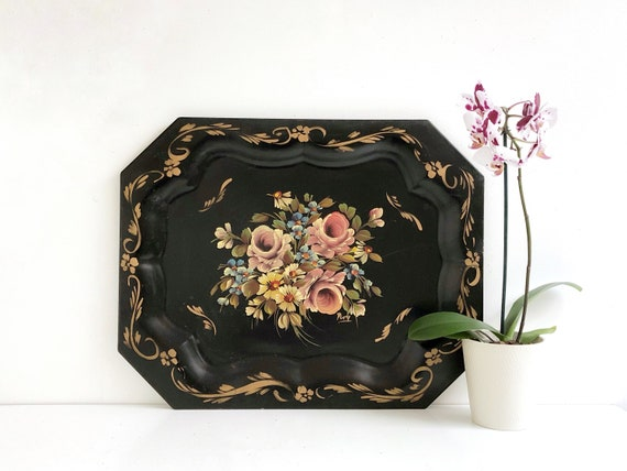 Extra Large Vintage Hand Painted Floral Toleware Tray