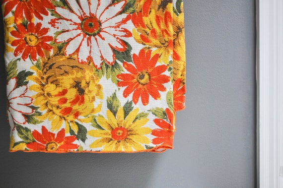 Vintage Orange and Yellow Floral Tablecloth - Card Table