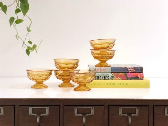 Set of Six Amber Sherbet Cups