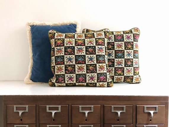Vintage Pair of Floral Needlepoint Pillows