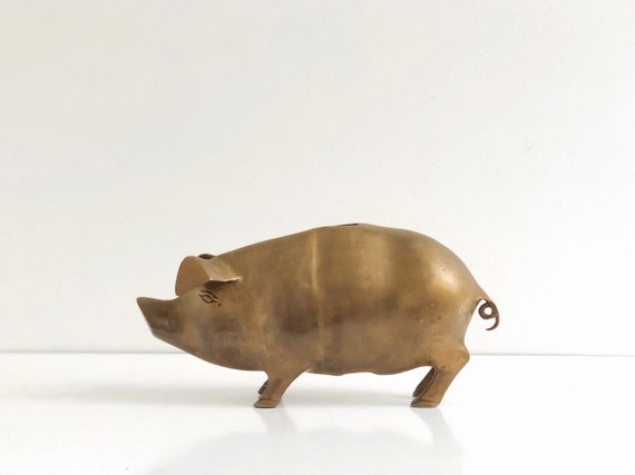 Large Vintage Brass Piggy Bank