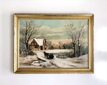 Antique Original Framed Winter Scene Painting