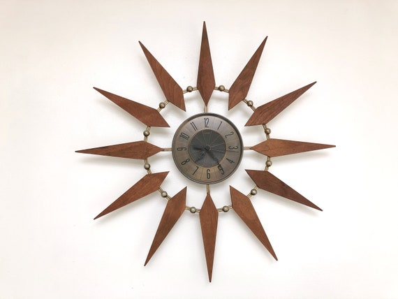 Mid-Century Wood and Brass Starburst Clock by Elgin