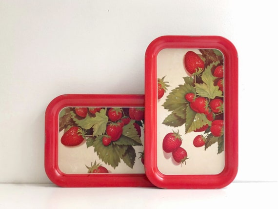 Pair of Vintage Red Strawberry Serving Trays