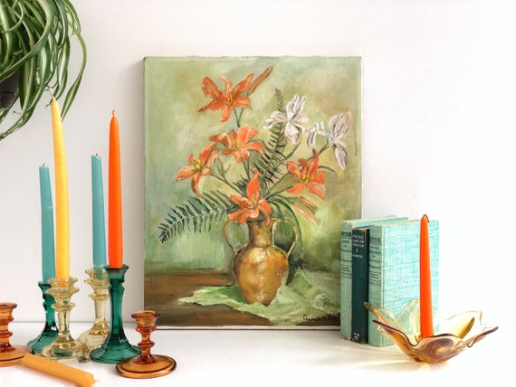 Vintage Signed Original Floral Painting by Charlotte M Day