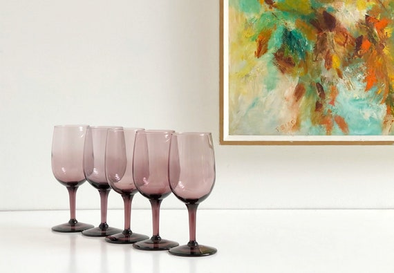 Vintage Purple Glass Goblets - Wine Toasting Goblets