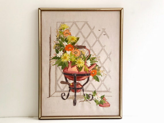 Vintage Flower Bouquet Crewel Embroidery