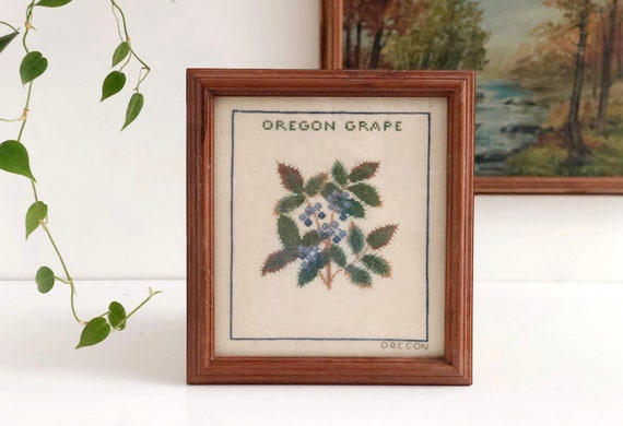 Vintage Oregon Grape Cross Stitch