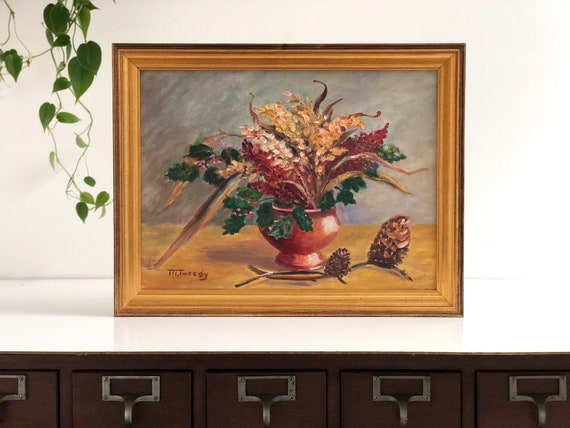 Vintage Framed Floral Bouquet Still Life Painting