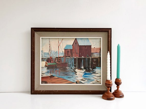 Vintage Coastal Massachusetts Pier Painting - Signed and Dated 1962