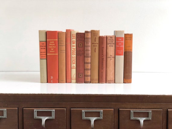 Vintage Orange Book Collection - Decorative Book Collection