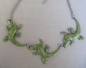 Crawling Swamp Green Crocodiles or Alligators Necklace