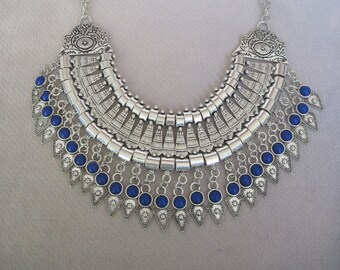 Intricate Detail Antique Silver n Lapis Blue Cabochons Bohemian Influenced Bib Necklace
