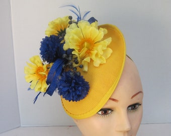 894ea961a39c7 Canary Yellow Fascinator with Deep Blue Pom Pom Flowers