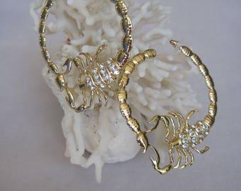 """Large Scorpion 2-3/4"""" Diameter Hoop Earrings in Choice of Silver or Gold"""