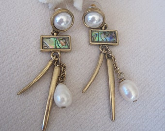 Bold Contemporary Danglers with Fresh Water Pearls & Abalone