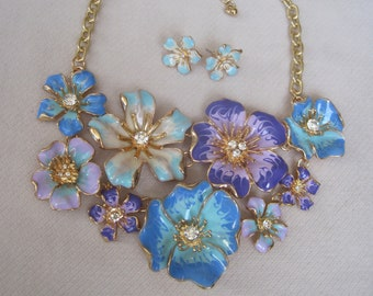 Year Round Shades of Enameled Lavender, Blue & Turquoise Dimensional Flower Necklace Set