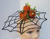 Spider Web with Velvet Orange Pumpkin Fascinator