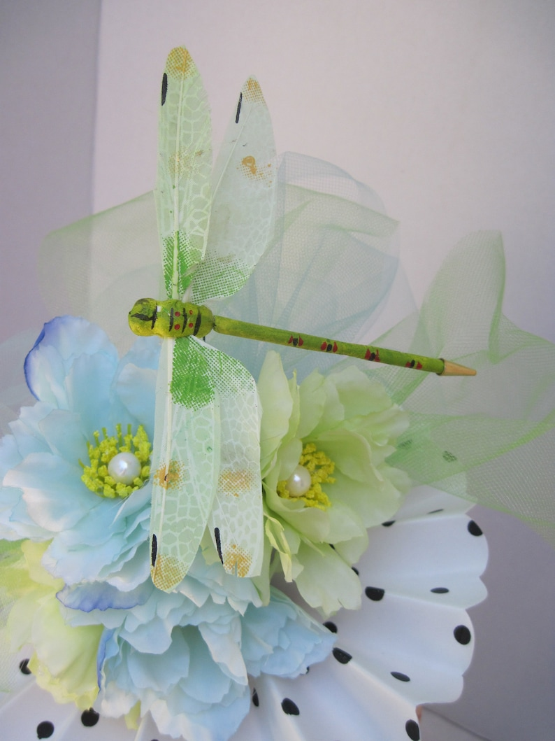Soft Shades of Blue /& Green Flowers on a Black Polka Dot on White Fan Fascinator with a Fantastic Dragonfly