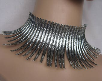 High Collar Metal Spikey Strands with Hammered Detail in Choice of Silver or Gold