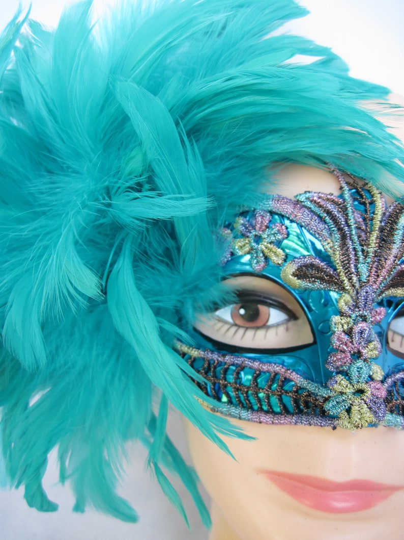 Teal Feathered Original Masquerade Half Mask with Ostrich Plumes /& Fluffy Feathers