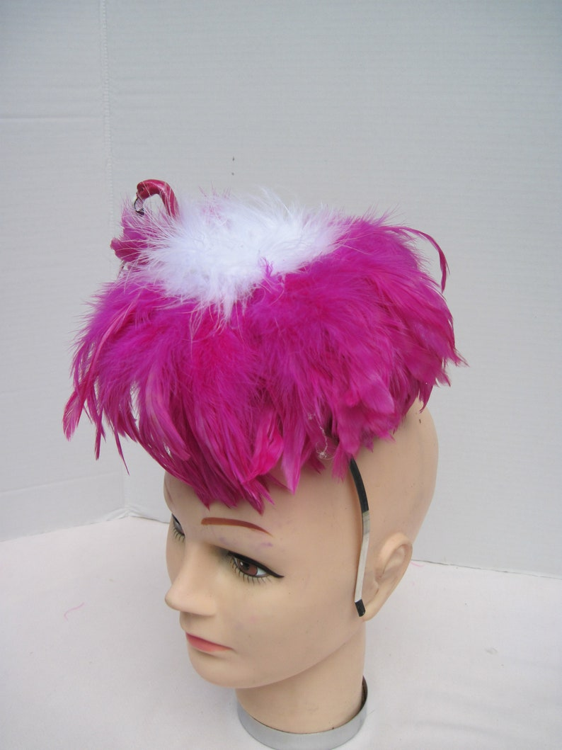 Magenta /& White Feathered Flamingo Headpiece