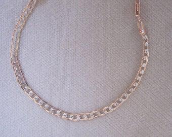 """Rose Gold n Silver 4mm Wide Hammered Curb Link Bracelet in 7"""" or 8"""" Lengths"""