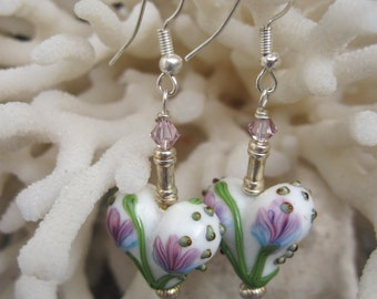 Soft Pink, Sky Blue and Summer Green Lamp Work Flower Heart Earrings