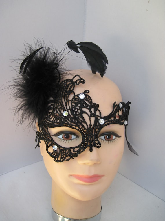 Feather Lace Masquerade Mask Mini Crystal Dance Mask For Halloween Party Decor
