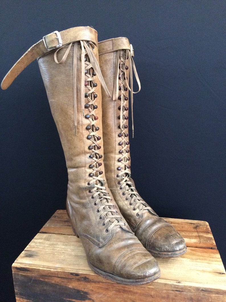 01cd3528ed635 Edwardian/1920's Tall Leather Lace Up Buckle Prairie Boots / Victorian /  Steampunk / Riding Boots / Knee High Boots
