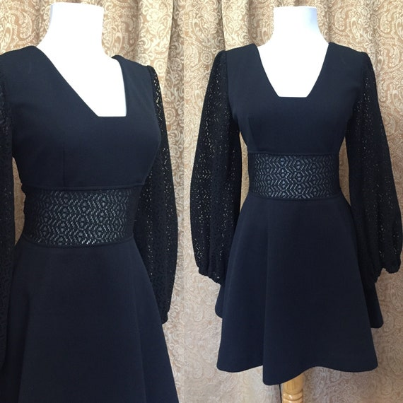 60's Black Mini Dress with Lace Sleeves and Midrif