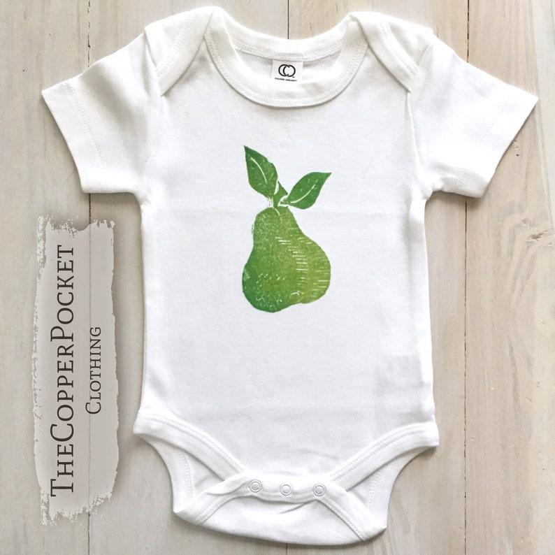 a8425b339bf5a Pear bodysuit organic baby clothes jumper vegan fruit foodie Baby newborn  unisex neutral girl boy 1264m Hawaiian garden tropical hippie gift