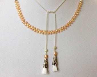 Madam Secretary Pearl and Tassel Necklace, Tea Leoni Necklace, Small Pearl and Small Tassel Necklace