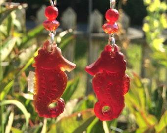 Sea Glass Seahorse Earrings, Red Sea Glass Earrings