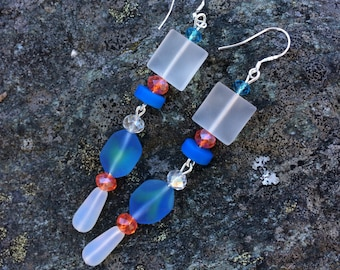Blue and White Sea Glass Earrings