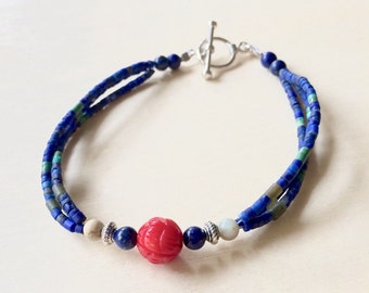 Lapis and Carved Coral Bead Bracelet