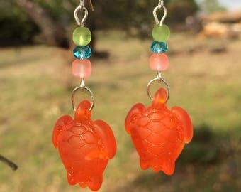 Orange Sea Glass Earrings, Turtle Earrings