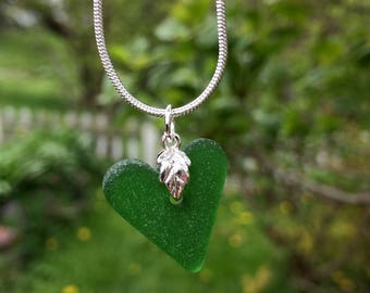 English Genuine Sea Glass Heart Pendant