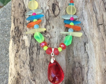 Czech, Sea Glass and Swarovski Necklace