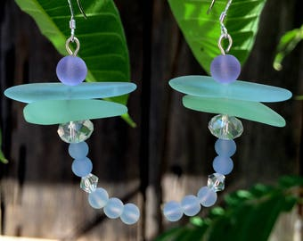 Sea Glass Dragonfly Earrings