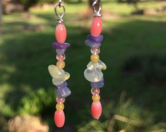 Coral, Lepidolite, Amethyst, Cherry Quartz, Citrine and Agate Earrings