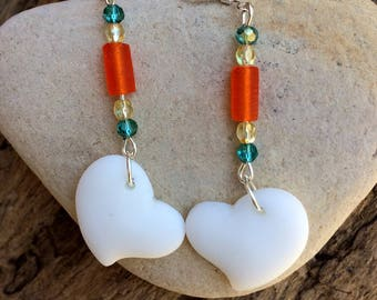 Sea Glass Earrings, White Heart Earrings, Sea Glass Heart Earrings