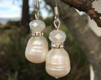 Freshwater Pearl and Swarovski Earrings